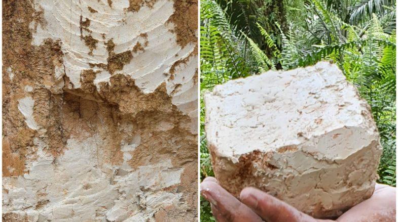 Gambar lapisan tanah kaolin, dan gumpualn tanah kaolin yang tidak memiliki struktur.