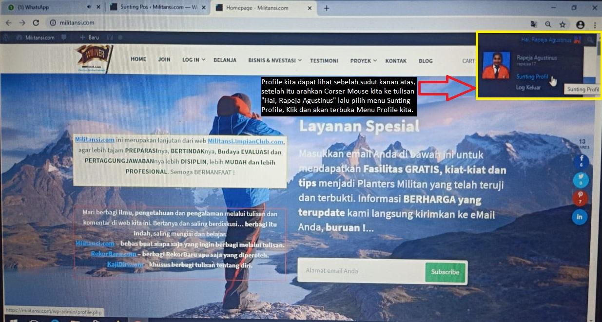 Cara Mengupdate Profile di Web Militansi