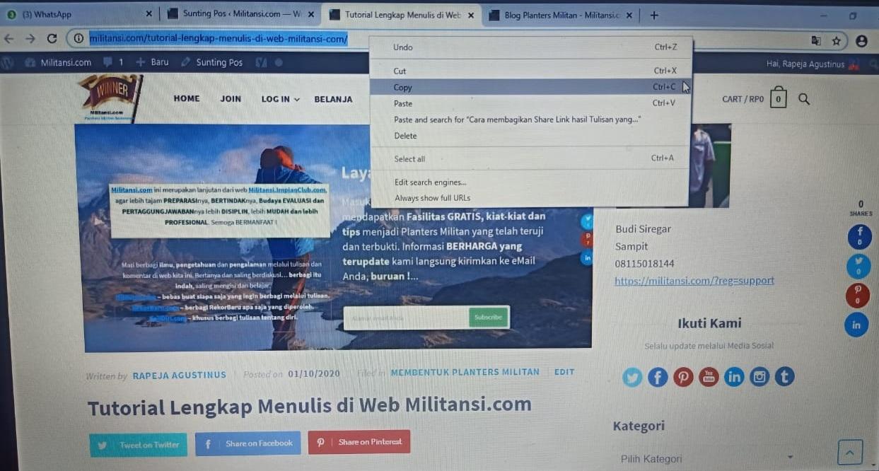 Cara membagikan Share Link hasil Tulisan yang sudah di Posting 2