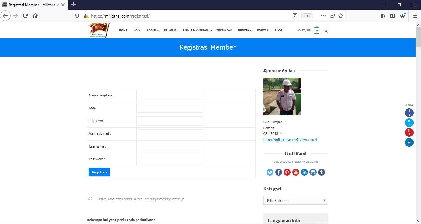 Menu Registrasi Pembuatan Akun