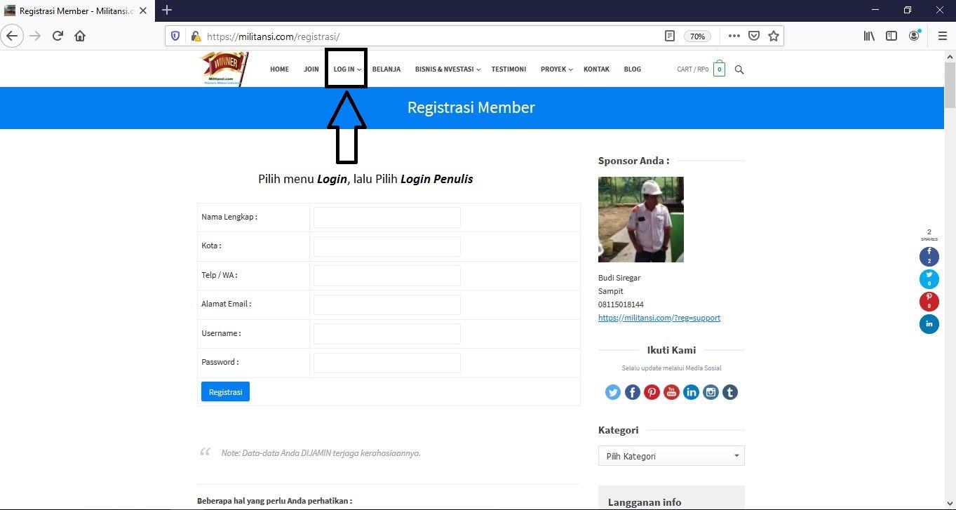 Setelah Registrasi, Pilih menu Login lalu pilih Login Penulis