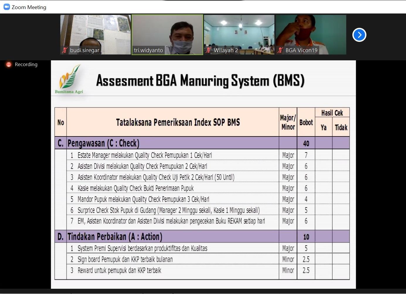 Asesment BMS - Disiplin Indeks SOP BMS - Check dan Action