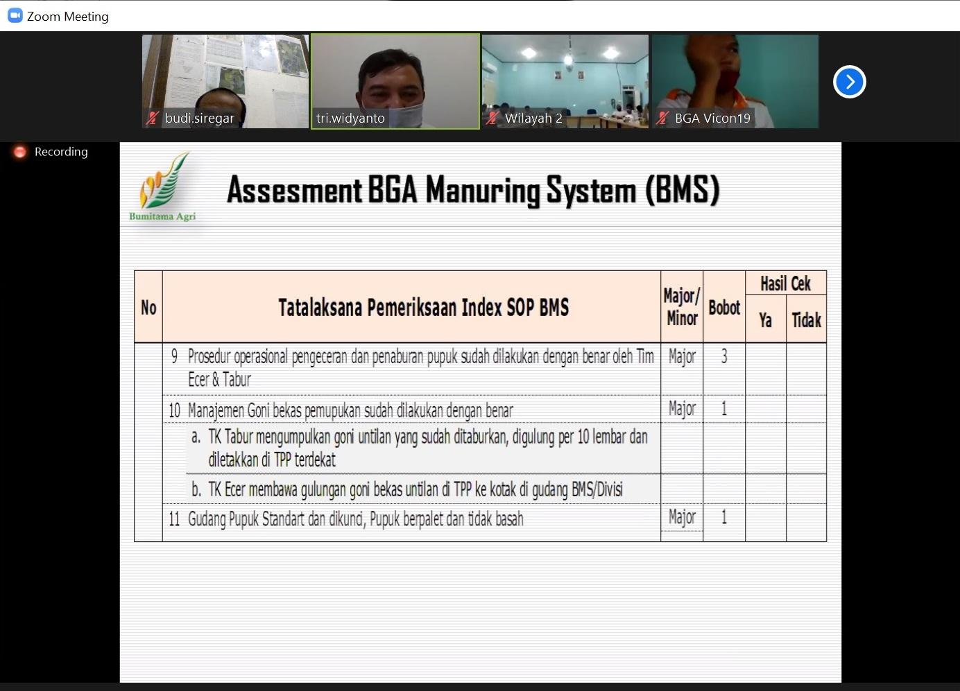 Asesment BMS - Disiplin Indeks SOP BMS - Do lanjutan...