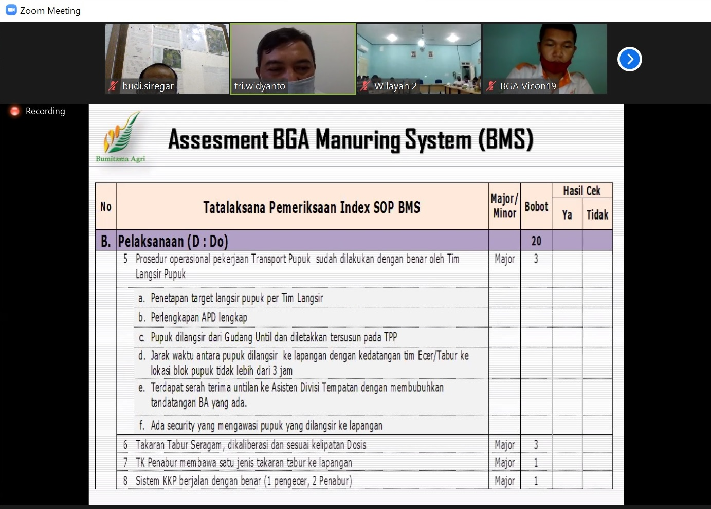 Asesment BMS - Disiplin Indeks SOP BMS - Do lanjutan