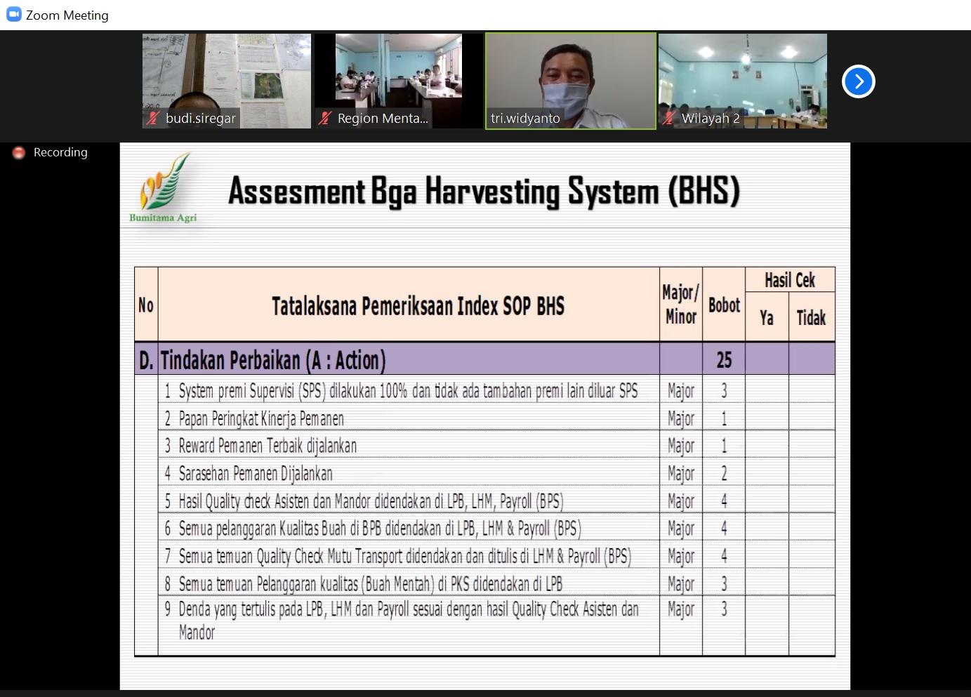 Assesment BHS - Disiplin Indeks SOP BHS - Action