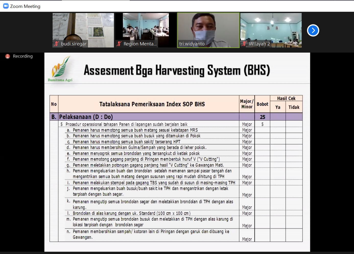 Assesment BHS - Disiplin Indeks SOP BHS - Do lanjutan