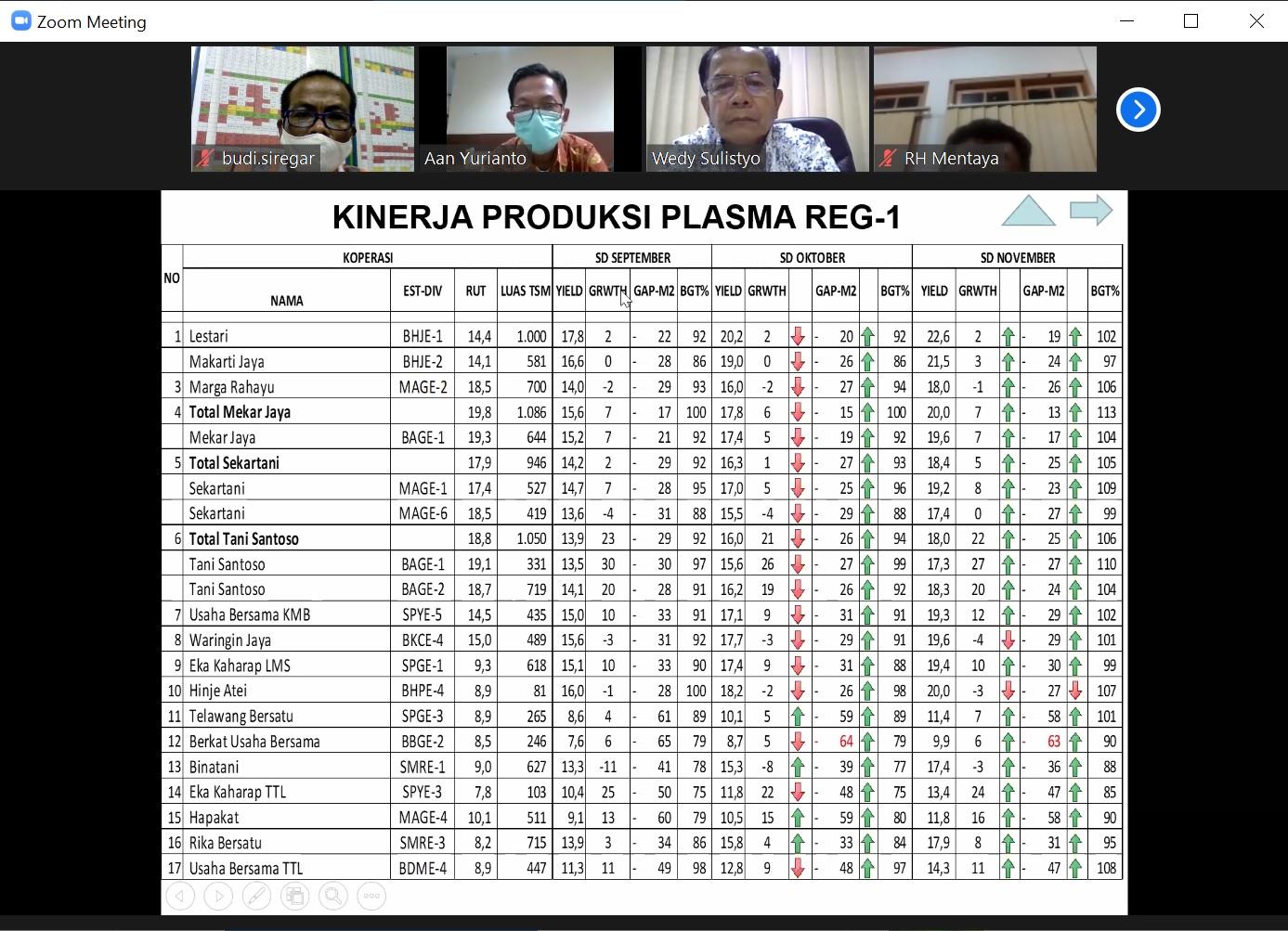 Kinerja Produksi Plasma Regional Mentaya, sd Nopember 2020