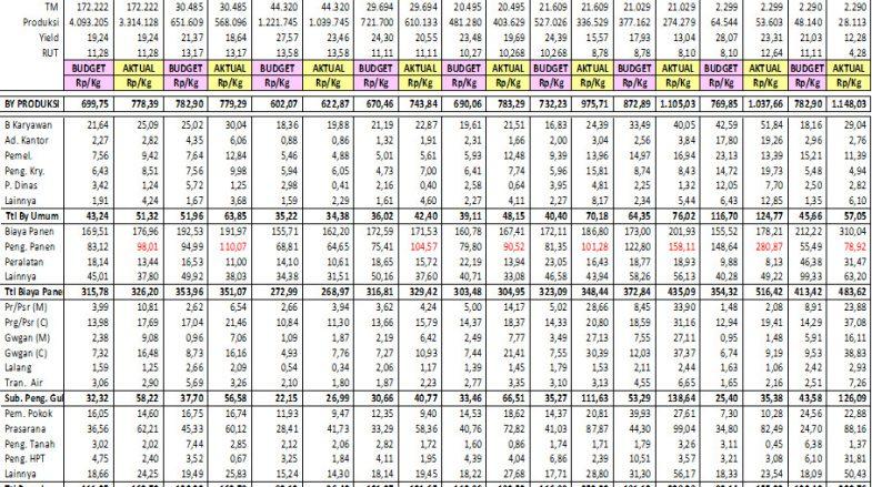 Cost Price Budget VS Aktual Biaya Tahun 2020 di masing-masing Region BGA