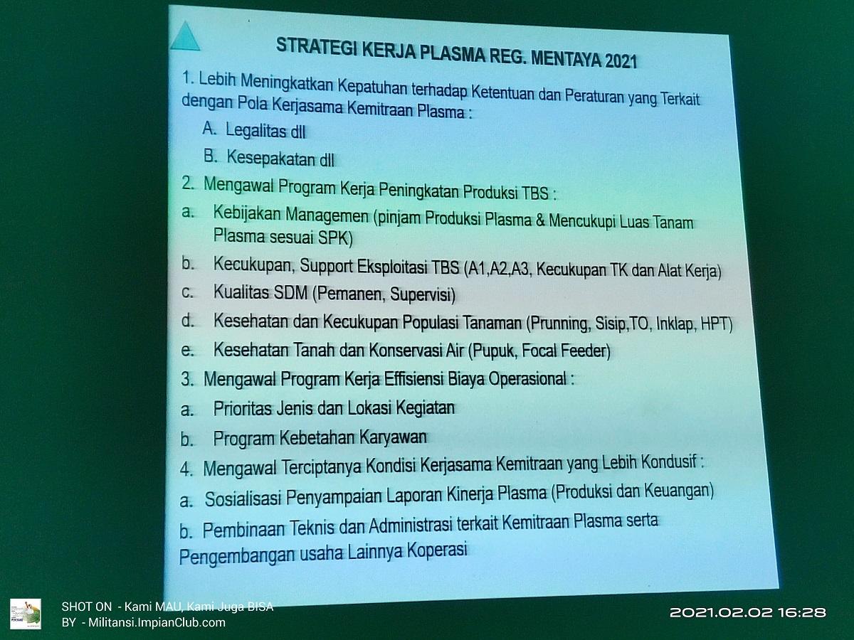 Plasma - Strategi kerja plasma Reg Mentaya Tahun 2021